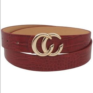Red Snakeskin Double C Belt